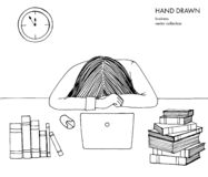 Young girl woman laid her head down on the table. Frustrated, exhausted, sleepy, tired of work. Laptop, computer, books. Hand drawn black and white line art vector illustration