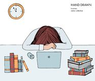 Young girl woman laid her head down on the table. Frustrated, exhausted, sleepy, tired of work. Laptop, computer, pc. Books. Hand drawn colored vector sketch royalty free illustration