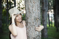 Young girl in wood Royalty Free Stock Photos