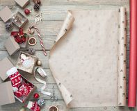 Wrapping Christmas gifts stock photography