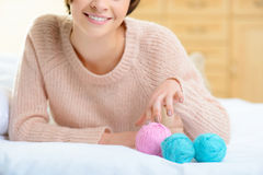 Young girl with wool yarn for knitting Stock Photos