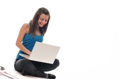 Young girl work on laptop Stock Photography