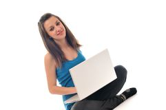 Young girl work on laptop Royalty Free Stock Photos