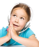 Young girl is working as an operator at helpline Stock Photo