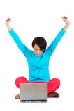 Young girl working on laptop isolated Royalty Free Stock Photo