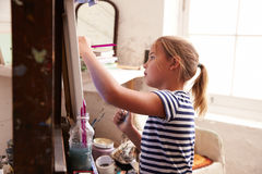 Young Girl Working On Painting In Studio Royalty Free Stock Photo