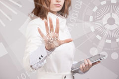 Young girl working with virtual screen Royalty Free Stock Photo