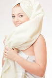 Young girl wrapped in towel Royalty Free Stock Photography