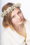 Young girl in a wreath Royalty Free Stock Photos