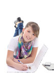 Young girl writing the letter Stock Photos