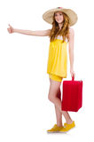 Young girl wth travel case thumbs up isolated Stock Image