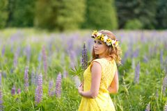 Young girl in yellow dress walking on meadow with lilac lupines. Warm summer day. Flower wreath for head stock photos