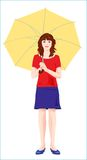 Young girl with  yellow umbrella Royalty Free Stock Photos