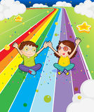 A young girl and a young boy at the colorful road Stock Photos
