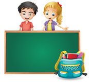 A young girl and a young boy stock illustration