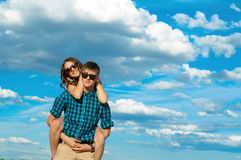 A young girl and a young man Stock Image