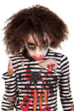 Young girl Zombie in Halloween Stock Image