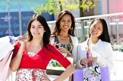 Young girlfriends shopping Royalty Free Stock Image