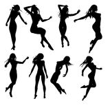 Young girls. Black silhouettes of young girls (vector eps format Royalty Free Stock Photography