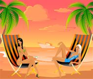 Young girls. Beautiful young girls on the summer beach Vector Illustration