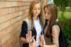 Young girls against smoking Stock Photo