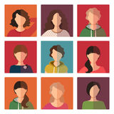 Young girls avatar icons set. Beautiful young girls avatar icons set, vector illustration Stock Photos