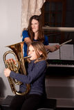 Young girls with band instruments Stock Photos