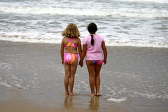 Young girls on the beach Royalty Free Stock Photography