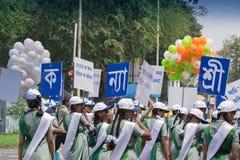 Young girls carrying Kanyashree placards stock photos