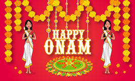 Young girls celebrating Happy Onam. Beautiful young girls in traditional dress welcoming for South Indian festival, Happy Onam celebration Stock Images