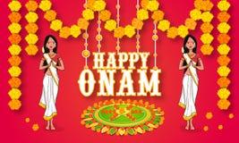 Young girls celebrating Happy Onam. Stock Images