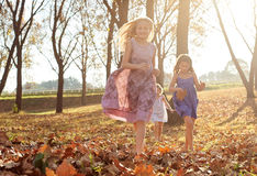 Young girls children kids playing running in fallen autumn leave Royalty Free Stock Photos