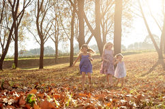 Young girls children kids playing running in fallen autumn leave Royalty Free Stock Image