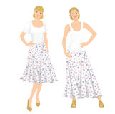Young girls in clothes for summer holiday. Vector illustration of young girls in clothes for summer holiday. Romantic maxi skirt with flower pattern Royalty Free Stock Image