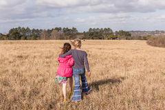 Young Girls Comforting Walking Wilderness Stock Photography