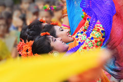 Free Young Girls Dancing At Holi / Spring Festival. Royalty Free Stock Photo - 88796005