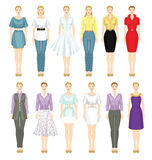 Young girls in different clothes Stock Images