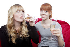 Young girls drink champagne and cheers Royalty Free Stock Photo