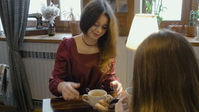 Young girls drink tea, have fun talking. Telling stories stock video footage