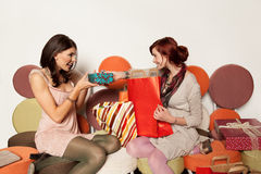 Young girls with gifts Royalty Free Stock Images