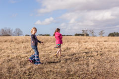 Young Girls Exploring Walking Wilderness Reserve Royalty Free Stock Images