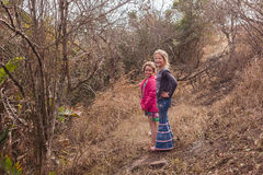 Young Girls Exploring Wilderness Reserve Stock Image