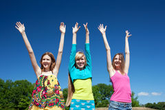 Young girls express positivity Stock Image