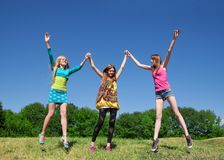 Young girls express positivity Stock Photos