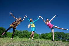 Young girls express positivity Stock Photo