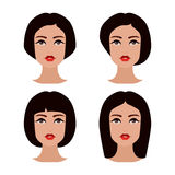 Young girls face with various hair style. Brunette women set of avatars. Cute beautiful young girls face with various hair style. Brunette women. Set of avatars Stock Images