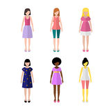 Young girls flat style icon people figures set Royalty Free Stock Photography
