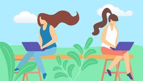 Young Girls Freelancer Characters Working Remotely royalty free illustration
