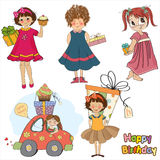 Young girls with gifts, items collection Stock Photos