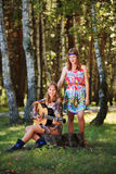 Young girls with guitar on nature Royalty Free Stock Images